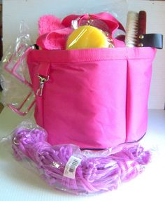 PINK GROOMING TOTE WITH GROOMING TOOLS NEW HORSE TACK | eBay