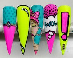 Crazy Nail Art, Crazy Nails, Funky Nails, Neon Nails, Trendy Nails, Swag Nails, Cute Nails, Pastel Nails, Bling Nails