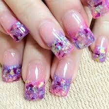 Multicolor tip nails. Acrylic nails. Sparkle. Glittery.