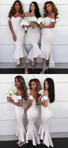 mermaid off shoulder wedding party dresses, simple formal evening gowns for special occasion, #bridesmaiddresses