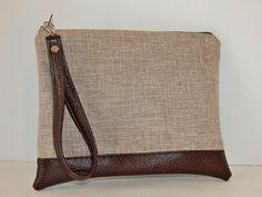 Love a neutral bag! Brown Linen Wristlet Linen Bag Small Bag by SouthernPursesuits, $34.00