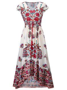 Folk Style Floral Print Irregular V-neck Maxi Dress For Women