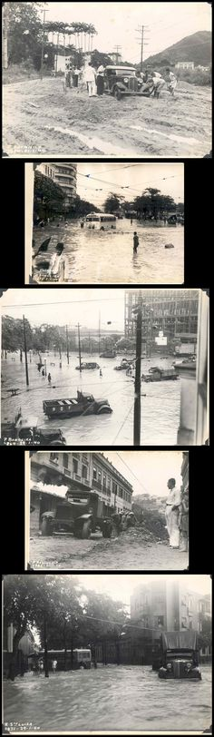 Vintage Rio de Janeiro, Brazil. A set of rare pictures of the impact of a flood in the 1940's.