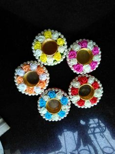 Thali Decoration Ideas, Diy Diwali Decorations, Festival Decorations, Diwali Candles, Diy Candles, Tea Light Candles, Tea Lights, Cd Crafts, Easy Diy Crafts
