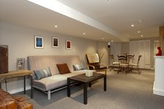 basement, grey, pot lights, carpet