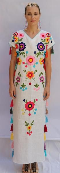 White multi-color Floral hand Embroidered Linen Folk Maxi tassels Dress. Sizes - XS-XXL 004