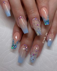 Most Fashionable Acrylic Coffin Nails Art Designs To Inspire You 2019 Bling Acrylic Nails, Summer Acrylic Nails, Best Acrylic Nails, Coffin Nails, Acrylic Art, Cute Acrylic Nail Designs, Nail Art Designs, Nails Design, Nail Crystal Designs