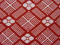 Vintage Japanese Silk Kimono fabric RED DIAMOND AND by Shibori