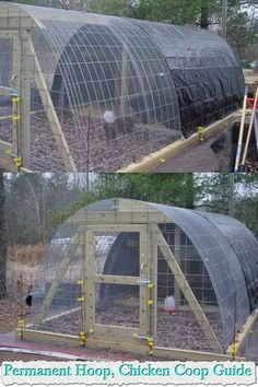 Welcome to living Green & Frugally. We aim to provide all your natural and frugal needs with lots of great tips and advice, Permanent Hoop, Chicken Coop Guide Diy Chicken Coop Plans, Portable Chicken Coop, Chicken Coop Designs, Best Chicken Coop, Backyard Chicken Coops, Building A Chicken Coop, Chicken Runs, Chickens Backyard, Chicken Fence