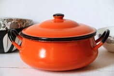 Oto Japan Enamel Casserole with lid Mid Century Modern Cookware by digatomic on Etsy