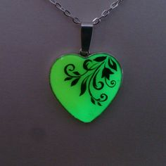 Green and Yellow  Glowing Necklace by BespokeInnaDesign on Etsy