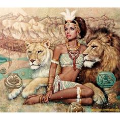 African Queens -Queen Kahina Died in 705 AD. Fought against the ARAB incursion in N. Africa Her royal majesty(HRM) the Queen Black Women Art, Black Art, African History, African Art, African Animals, African Beauty, Black Royalty, African Royalty, Egyptian Queen