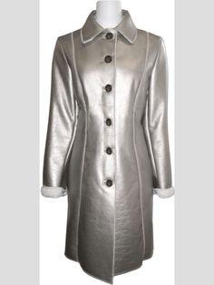 Silver Cream Metallic Faux Shearling Coat