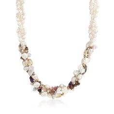4-8mm Cultured Pearl and 46.50 ct. t.w. Multi-Stone Necklace With 14kt Yellow Gold
