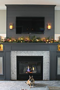 A Christmas Holiday Home Tour by Thrifty Decor Chick. Painted Peppercorn, SW color.  Lovely~  Great tile too!