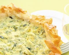"""Leek and Cheese Phyllo Tart - the phyllo is a lovely change for this """"quiche like"""" brunch dish"""
