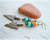 Boho Hippie Earrings - Boho Hippie Jewelry - Boho Jewelry - Boho Turquoise Earrings - Arrowhead Earrings - Frost Agate Earrings