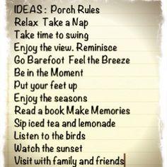 Porch Rules Idea List