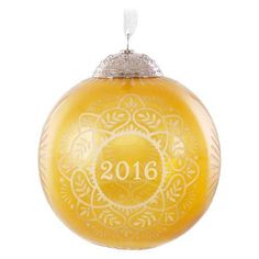 Christmas Commemorative Gold Glass Ball Ornament, , large