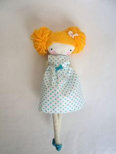 Pipa rag doll -  plush toy cloth art doll polka dots dress via Etsy