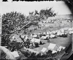 This photograph of an encampment at Cumberland Landing, Virginia, was taken from a hill above the camp.