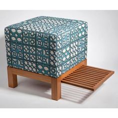 "Sergio Cuzzuol -  Ottoman ""Parceiro ""and fabric ""Cobogó"" by Simone Monteiro - Studio Noble Savage"