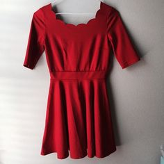 NWOT red scalloped Lulu's Dress Brand new!!! Never worn (just tried on) stretchy, thick red dress from LULU*S  very cute!!! Is a size small but is stretchy so it could fit a medium toomy favorite part about this dress is the scalloped neckline(: the first 2 pictures best represent the color.    *PRICE IS FIRM* BUT CHEAPER ON MERC Lulu's Dresses Mini