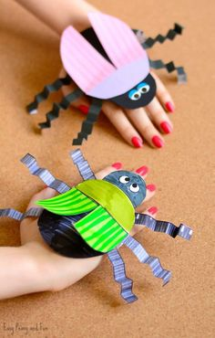 insect art for kids - Beetle Paper Hand Puppet Template Hand Crafts For Kids, Spring Crafts For Kids, Toddler Crafts, Preschool Crafts, Crafts To Make, Art For Kids, Bug Crafts Kids, Kindergarten Crafts Summer, Insect Crafts