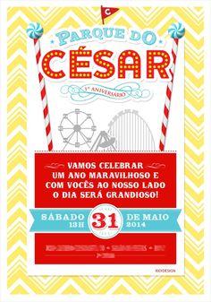 Convite KID!DESIGN para festa infantil com identidade visual de Parque de Diversões - César - 1 ano