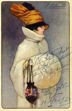 1923 Fashion postcard illustrated by E. Colombo