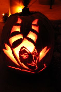 My pattern/template free carved pumpkin: Sleeping Beauty's Maleficent!