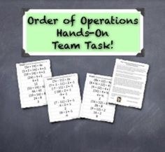 Teachers Pay Teachers Sale starts Order of Operations Formative Assessment - A Hands-On Group Task Teaching Time, Teaching Math, Maths, Teaching Ideas, Group Activities, Hands On Activities, Teachers Pay Teachers Sale, Junior High Math, Math Classroom