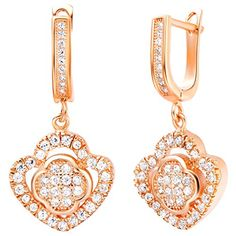YLR Rose Gold Plated Women Jewelry Plump Flower Elongated Dangle Shiny Zircon Drop Earrings *** Click image for more details. Note:It is Affiliate Link to Amazon.