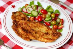 Mrs. Bush's recipe for chicken schnitzel is incredibly fast, easy and delicious – all in all, a great solution to last-minute dinner guests.