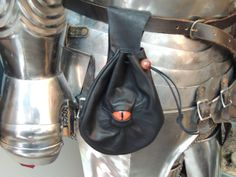 Medium Black Leather Bag/Belt Pouch with Red-Orange Eye