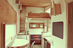 Modern tiny house on wheels in Whitehorse, Yukon, Canada. See more @ http://tinyhouseswoon.com/leaf-house/