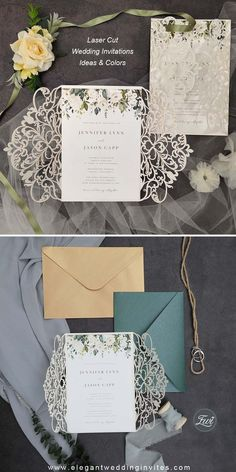 The Ivory Laser Cut Wrap holds an invitation that is filled with a white and green Floral Pattern. Perfect for any season and any level of formality. This is a classic look that will stand the test of time.