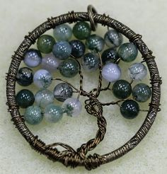 Tree of Life Wire Pendant: Easy free DIY tutorial to make this fun wire and moss agate tree pendant!  You can totally do this!  From Bead World Inc