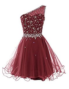 Dresstells Short One Shoulder Prom Dresses Tulle Homecoming Dress with Beads Burgundy Size 12 * Read more  at the image link.