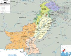 Detailed large political map of Pakistan showing names of capital city, towns, states, provinces and boundaries with neighbouring countries