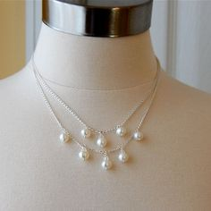 pearl wedding necklace, double strand