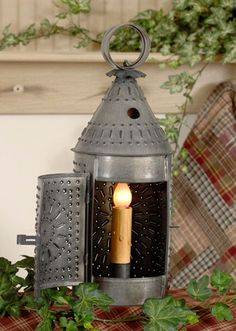 """Electrified 12"""" Revere Lantern with Chisel Design in Heritage Tin"""