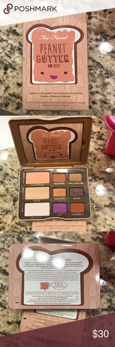 💞BN! Too Faced Peanut Butter & Jelly Palette💞 Brand new. 100% Authentic. Peanut Butter & Jelly palette. Love this palette and it smells delish. 😍 But like all the other palettes I have...I use my favs only so this just sits on my vanity. Will trade or sell. TV is $40. Too Faced Makeup Eyeshadow