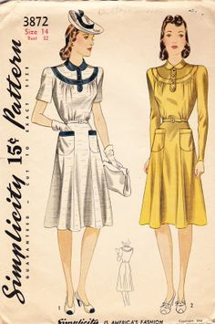 Vintage 1940's Women's Dress Pattern with Collar and Pockets - Simplicity 3872