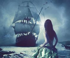 She approached the ship. Walking across the water in a emerald ballgown.
