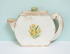 LOVE... Rare 1940s Handmade Wooden Soap Powder Dispenser, Teapot Shaped with Cream Paint and an Original Flower Decal in Yellow and Green