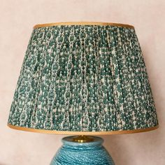 Blue and Green Floral Pleated Silk Lampshade with Gold Trim - Lampshade - Penny Morrison Chandelier Design, Jar Chandelier, Make A Lampshade, Fabric Lampshade, Patterned Lampshades, Green Bedroom Walls, Pleated Lamp Shades, Green Lamp Shade, Chinese Fabric