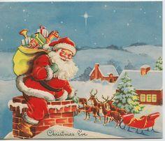 Vintage Greeting Card Christmas Eve Santa Claus Chimney Rooftop 1950s v955