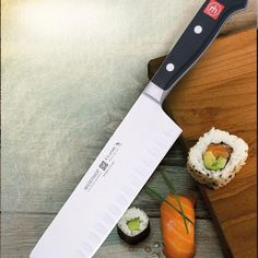 """All you need to make homemade sushi is the right kind of seaweed, a gorgeous piece of sushi grade fish, and a sharp knife. Our CLASSIC 7"""" Nakiri is perfect for the job! #kitchenfactory #wusthof #knives #knife"""