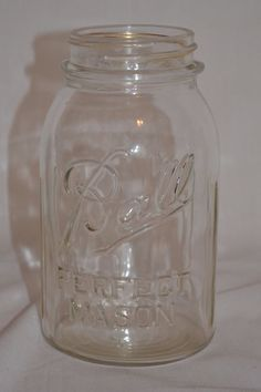 Ball Perfect Mason Jar Vintage Clear Glass 1933 - 1940 Ribbed #6 on Bottom #Ball